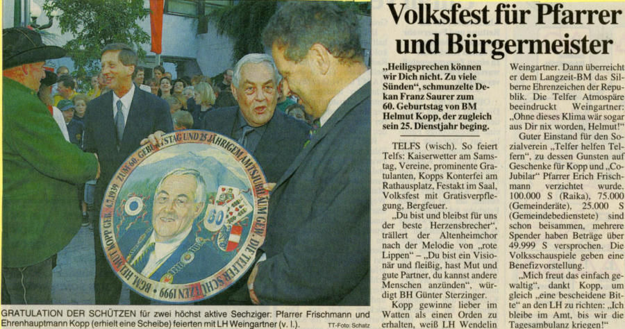 1999 | Volksfest für Pfarrer und Bürgermeister | Tiroler Tageszeitung, 05.07.1999