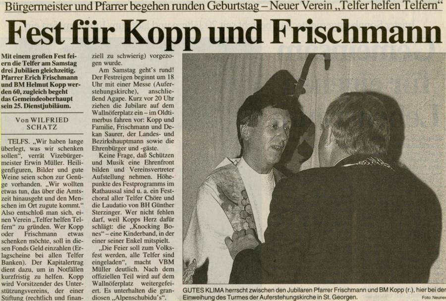 1999 | Fest für Kopp und Frischmann | Tiroler Tageszeitung, 29.06.1999