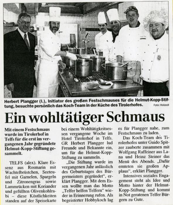 2001 | Ein wohltätiger Schmaus | Tiroler Tageszeitung, 03.05.2001