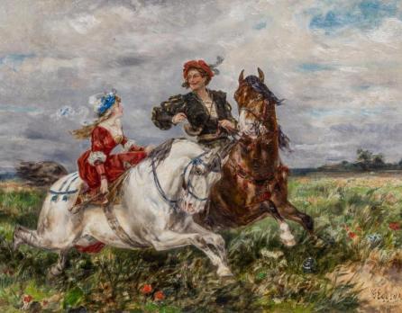 Kat. Nr. 2 | Gustav Eggena (1850–1915) | Ausritt eines jungen Paares