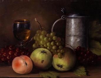 Kat. Nr. 19 | P. Pralke (1910–?) | Früchtestillleben mit Kanne und Weinglas