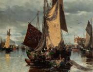Kat. Nr. 5 | Unbekannt |Segelschiff im Hafen