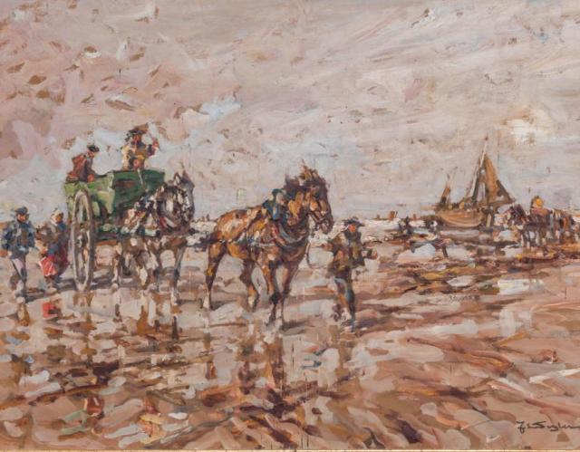 Kat. Nr. 16 | Julius Seyler (1873-1958) | Krevettenfischer mit Pferdekarren im Watt